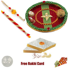 Rakhi Thali with 450 grams Kaju Katli and Free Silver Coin