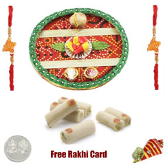 Rakhi Thali with 500 grams Kaju Roll and Free Silver Coin