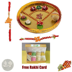 Rakhi Thali with 500 grams Assorted Sweets and Free Silver Coin