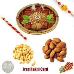 Rakhi Thali with 100 grams assorted dryfruits and Free Silver Coin