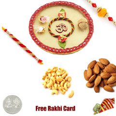 Rakhi Thali with 200 grams assorted Dryfruits and Free Silver Coin
