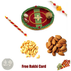 Rakhi Thali with 400 grams assorted Dryfruiits and Free Silver Coin