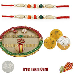 Rakhi Thali with 2 LB Boondi Ladoo with Free Rakhi Thali and Free Silver Coin