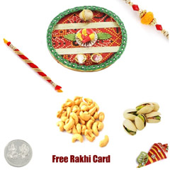 Rakhi Thali with 2 LB Pistachios Cashews and Free Silver Coin