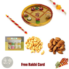 Rakhi Thali with 1 LB Assorted Sweets and 1 LB Assorted Dryfruits