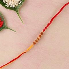 Yellow-Red Rakhi Thread with Rudraksha