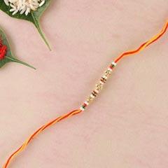 Yellow Red Combination Thread Rakhi