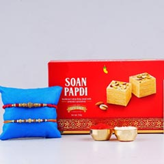 Soan Papdi Sweet with Two Sizzling Rakhi - For UK