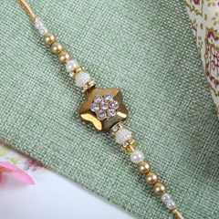 Golden Pearl Diamond Rakhi