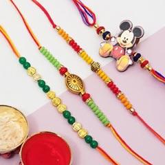 Mickey & 3 Rakhi Set
