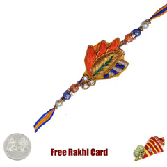 Handcrafted Zardosi Rakhi with Free Silver Coin