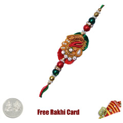 Beautiful Zardosi Rakhi with Free Silver Coin