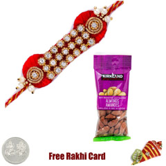 Zardosi Rakhi with 50 grams Almonds