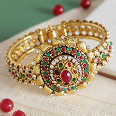 Royal Rajasthani Gold Plated Kundan Bangle