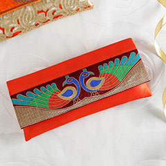 Elegant Orange Peacock Clutch