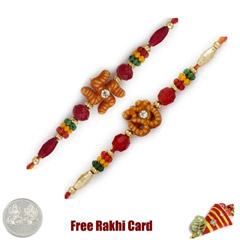 Om and Swastik Rakhi Set