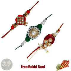 Zardosi Rakhi Set of 3