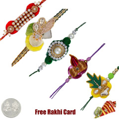 Zardosi Rakhi Set of 5