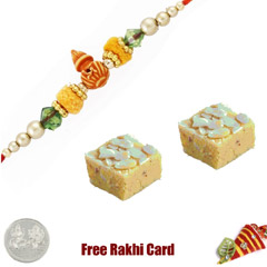 1 Rakhi with Badam Burfi and a..