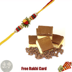1 Rakhi with Chocolate Burfi a..