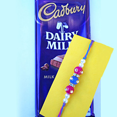 Colorful rakhi with Chocolate