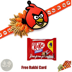 Kids Rakhi with Kit Kat 4 Fing..
