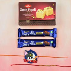 Two Rakhi with Chocolate and S..