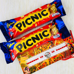 Rakhi With Two Picnic Chocolat..