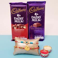 A Rakhi with two Dairy Milk