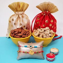 Two Rakhi with Almonds & Cashe..