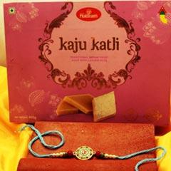 Elegant Design Rakhi with Kaju..
