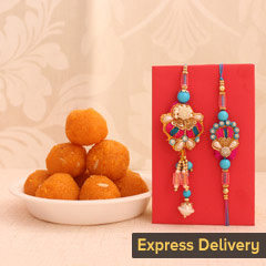 Rakhi Set with Bundi Laddu Bli..