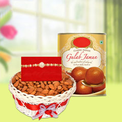 Rakhi with almonds and Gulab J..