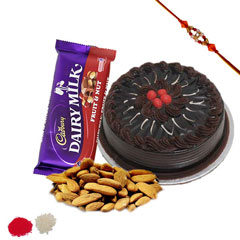 Rakhi with cake and chocolate