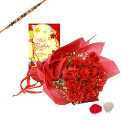 Rakhi with Carnations and Gree..
