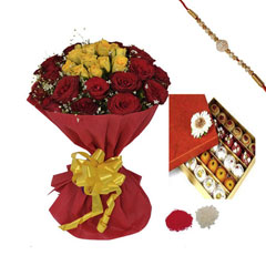 Rakhi with Red and Yellow Rose..
