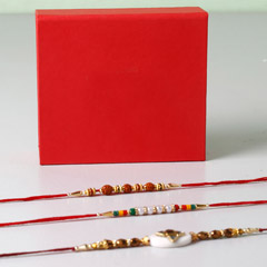 Set Of 3 Vibrant Rakhis In Red..