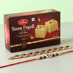 Soan Papdi With Set Of 2 Rakhi..