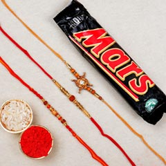 Three Beaded Rakhi with Chocol..