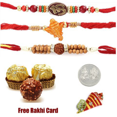 Triple Rakhi Set with Ferrero ..
