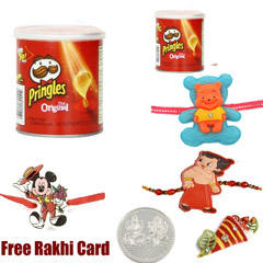 3 Kids Rakhi with Pringles