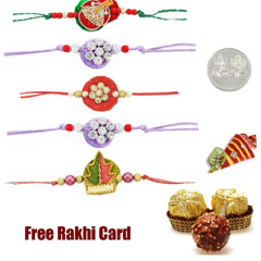 5 zardosi rakhis with 3 piece ..