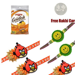 5 Kids Rakhi with Gold Fish