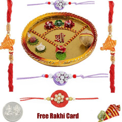 Thali with 2 Thread Rakhis and..