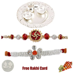 Silver Thali with 2 jewelled r..