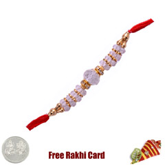 White Fancy Rakhi with Free Si..