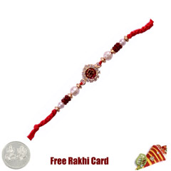 Om Gold Bracelet Rakhi with Fr..