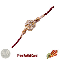 Shining Om Rakhi with Free Sil..