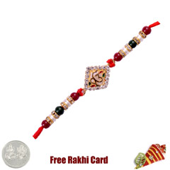 Om in Circle Rakhi with Free S..