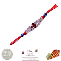 Elegant White Stone Rakhi with..
